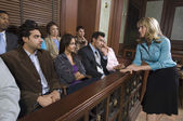 Female Attorney Addressing Jury — Foto Stock