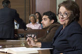 Defense Lawyer With Client In Court — Stock Photo