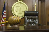 Gavel And Judge's Chair In Courtroom — Stock Photo