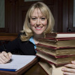 Female Advocate With Law Books — Photo