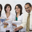 Professor With Female Students In Science Lab — Stock Photo