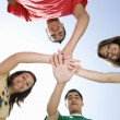 High School Students Huddling Hands — Stock Photo
