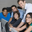 Stock Photo: Teacher And Students In Computer Lab