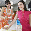 Female Friends Shopping In Clothing Store — Stockfoto