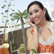 Woman Using Mobile Phone In Restaurant - Stock Photo