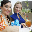 Stock Photo: Beautiful Female Friends In Outdoor Restaurant