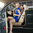 Cheerful Female Friends In Convertible — Stock Photo