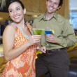 Cheerful Couple Drinking Martinis — Stock Photo