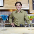 Bartender Standing Behind Bar Counter — Stock Photo