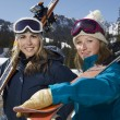 Female Skiers With Ski Boards — Stock Photo