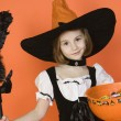 Preadolescent Girl In Witch Costume — Stock Photo