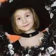 Cute Girl In Halloween Outfit — Stock Photo