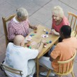 Senior Multiethnic Friends Playing Cards Together — Foto de Stock