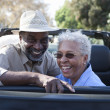 Mature couple at back seat of car smiling — Stock Photo #21866513