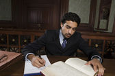 Male Advocate Reading Law Book — Stock Photo