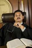 Pensive Judge In Court — Stock Photo