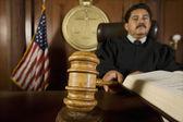 Judge Using Gavel In Court — Stock Photo