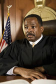 Judge Sitting In The Courtroom — Stock Photo
