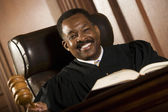 Happy Judge Holding Gavel — Stock Photo