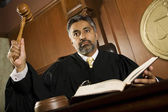 Male Judge Knocking Gavel — Stock Photo