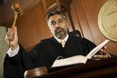 Male Judge Knocking Gavel — Stock Photo