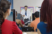 Students With Professor In Modern Classroom — Stock Photo