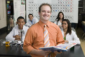 Professor With Students In Science Class — Stock Photo