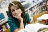 Female Student With Books In Library — Stock Photo