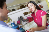 Woman Using Credit Card For Payment Of Purchases — Stock Photo