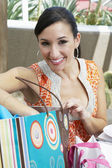 Woman With Shopping Bag At Restaurant — Stock Photo