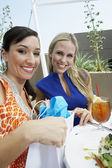 Beautiful Female Friends In Outdoor Restaurant — Stock Photo