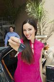 Beautiful Female Holding Car Key — Stock Photo