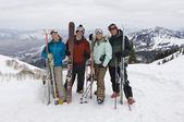 Skiers On Mountain Holding Skis — Stock Photo