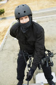 Swat Team Officer Rappelling — Stock Photo