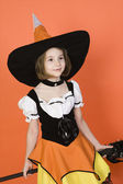 Girl In Halloween Outfit — Stock Photo