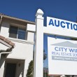 Auction Sign Outside House — Stock Photo