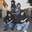 Four Aggressive Robbers Holding Knives — Stock Photo