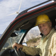 Senior Man In Truck At Wind Farm — Lizenzfreies Foto
