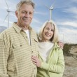 Royalty-Free Stock Photo: Senior Couple Near Wind Farm