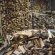 Firewood With Wood Shed In Background — Foto Stock