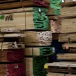 Stock Photo: Large quantity of wooden plywood stored in warehouse