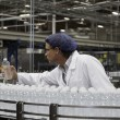 Stock Photo: Factory worker examining bottled water