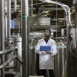 Stock Photo: Factory worker inspecting bottling factory