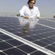 Stock Photo: Mlooking down on solar power panels