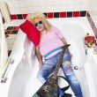 Foto de Stock  : Drunk masleep in bathtub