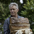 Senior man carrying firewood - Stock Photo