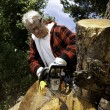 Stock Photo: Senior mcutting tree stump with chainsaw