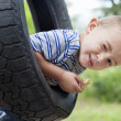Portrait of a young boy winking while swinging on tire - Stock Photo