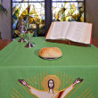 An altar set for Communion — Stock Photo