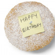 High angle view of 'happy birthday' note on powdered sugar sponge cake — Stock Photo